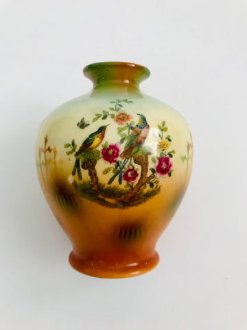 Porcelain Bud Vase with Flowers and Birds