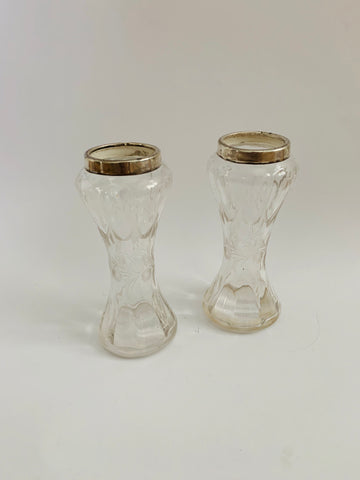 Pair of Sterling Silver Topped Glass Vases 1909