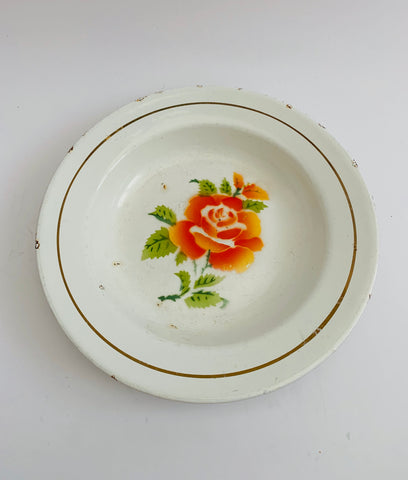 Vintage Enamel Bowl with orange rose