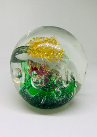 Green and Gold Glass Paper Weight