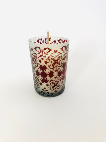 Soy Candle in Etched Red Glass Vase