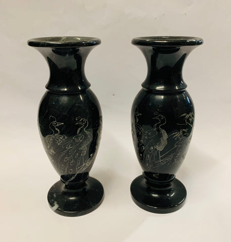 Pair of Oriental Marble vases