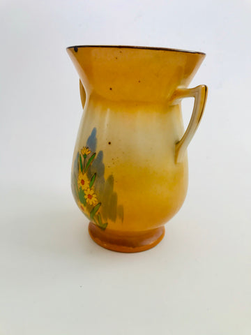Double Handed Retro Orange Vase