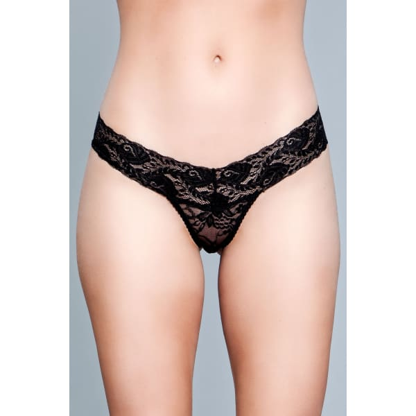 BW1160B V Cut Lace Panties - Black - Black / Female / M - Underwear