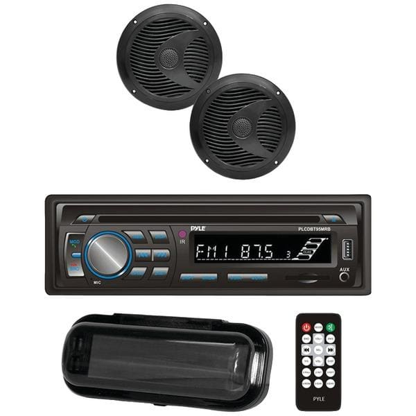 Marine Single-DIN In-Dash CD AM-FM Receiver with Two 6.5 Speakers Splashproof Radio Cover & Bluetooth(R) (Black) - Automotive Receivers