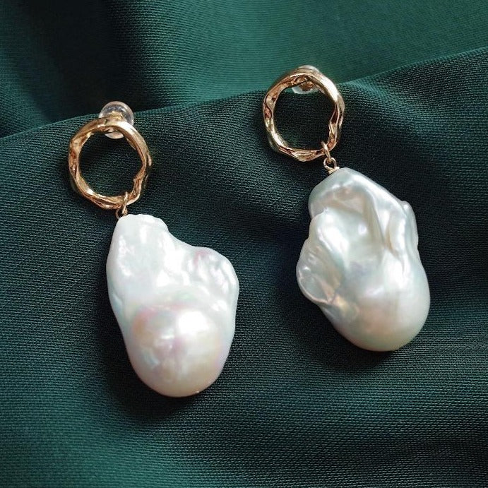 60s Mod Clothing Outfit Ideas Baroque Freshwater Pearl Earrings women with 925 Silver pin studded earring $59.00 AT vintagedancer.com