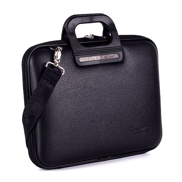 All Black Bombata Briefcase for 13 inch laptop Taormina by Fabio Guidoni - Designer bag by Fabio Guidoni