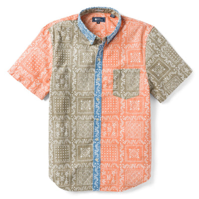 Reyn Spooner Original Lahaina Colorblock Tailored Fit 2.0 Weekend Wash Shirt in CORIANDER