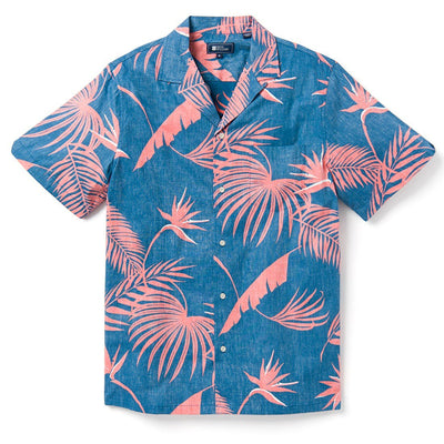 Reyn Spooner SOUTH PACIFIC PALMS CAMP SHIRT DARK BLUE