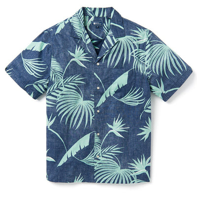 Reyn Spooner SOUTH PACIFIC PALMS CAMP SHIRT DRESS BLUES