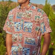 Reyn Spooner HAWAIIAN CHRISTMAS 2020 BUTTON FRONT in TIBETAN RED