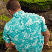 Reyn Spooner Aloha Welcome Classic Button Front TEAL BLUE