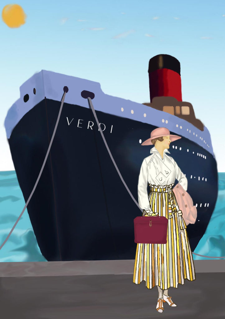Artwork by Marine Jessica Caron illustrating Atelier Verdi Livia vanity case in front of ship
