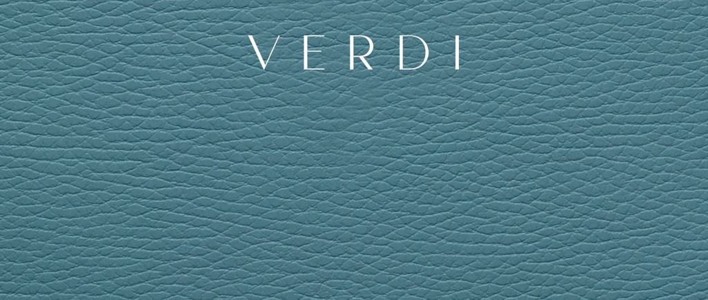 Atelier Verdi branding on blue leather