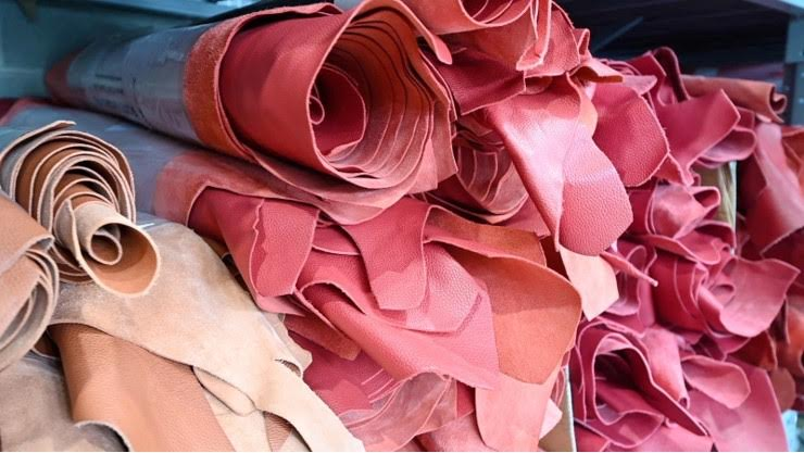 Atelier Verdi red leather hides at the tannery