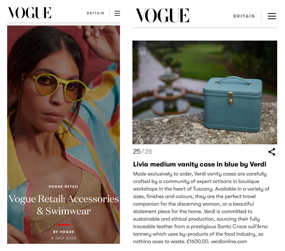 Atelier Verdi medium blue vanity case as seen in British Vogue online digital retail.