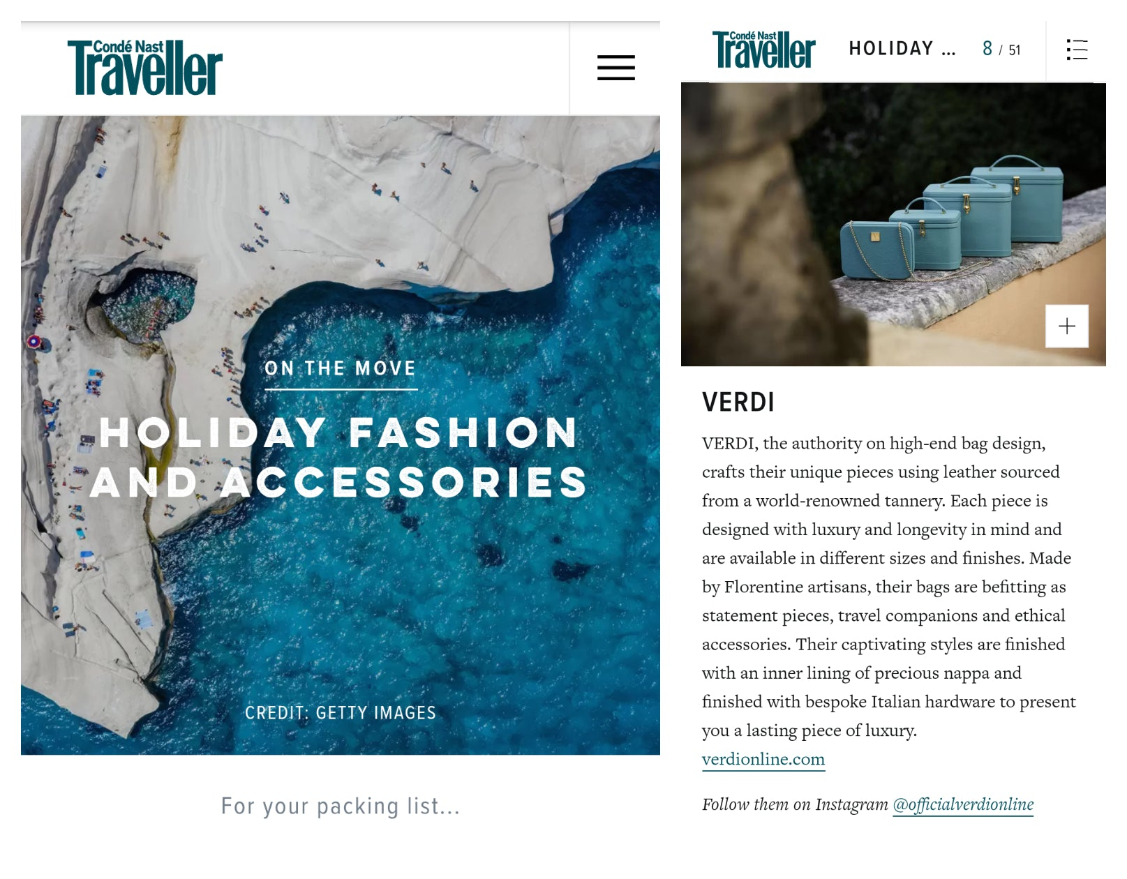 Atelier Verdi blue vanity cases and clutches in Conde Nast Traveller - On The Move