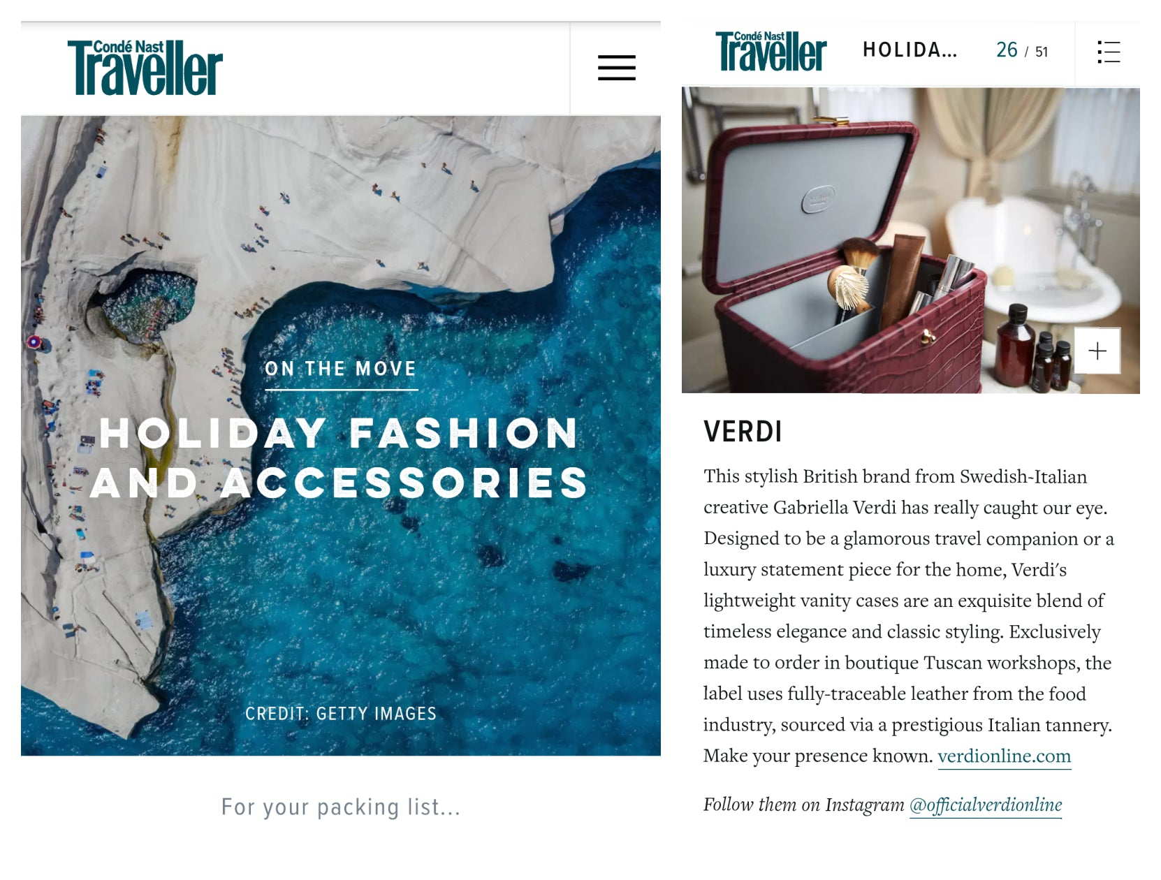 Atelier Verdi in Conde Nast Traveller On The Move November 2020