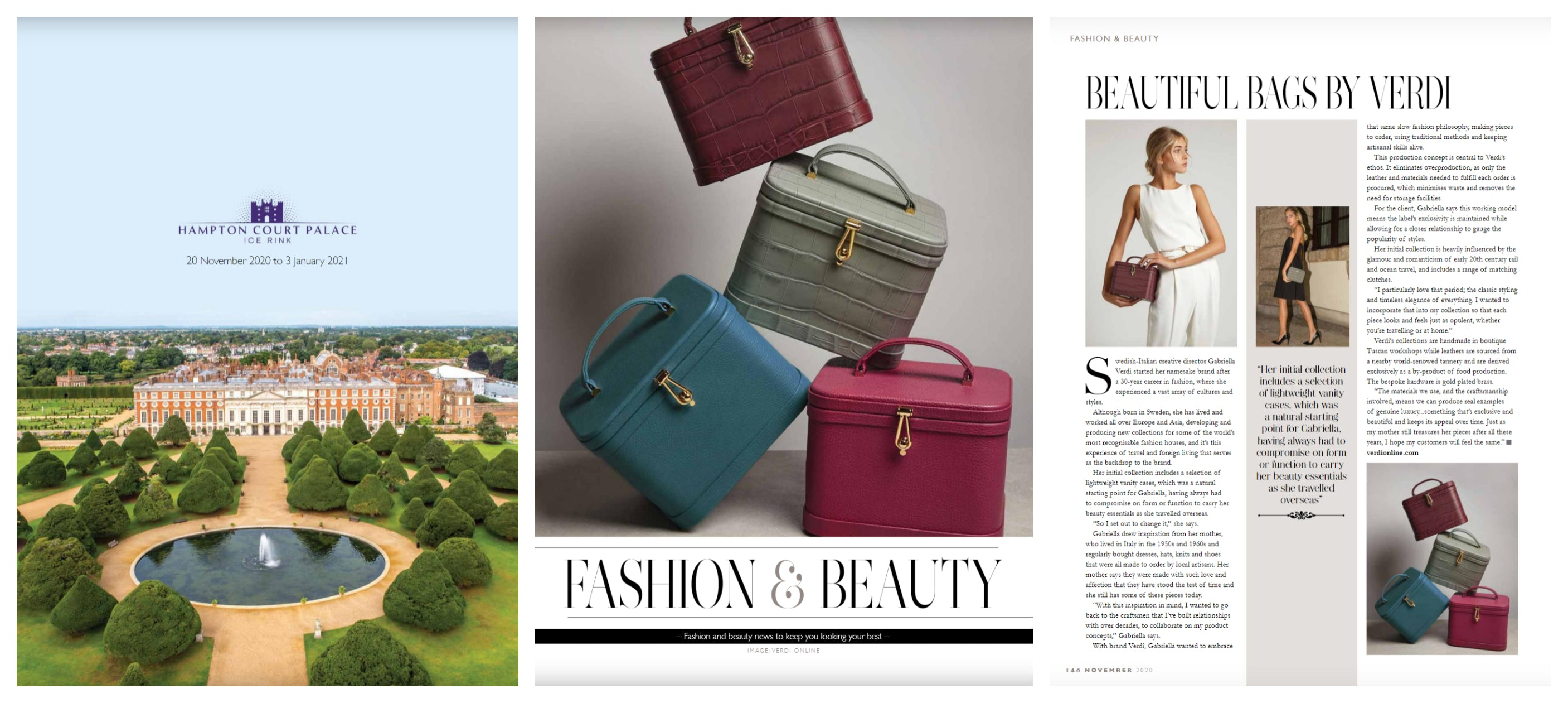 Atelier Verdi Vanity Cases and Brand Editorial in London Life Magazine November 2020