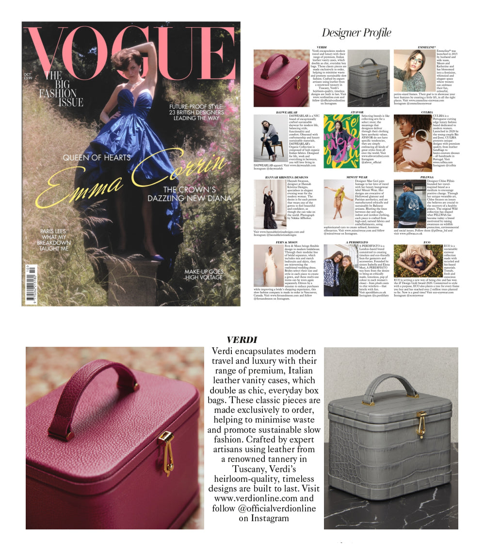 Atelier Verdi Pink and Grey Crocodile Box Bag Vanity Case in British Vogue Designer Profile