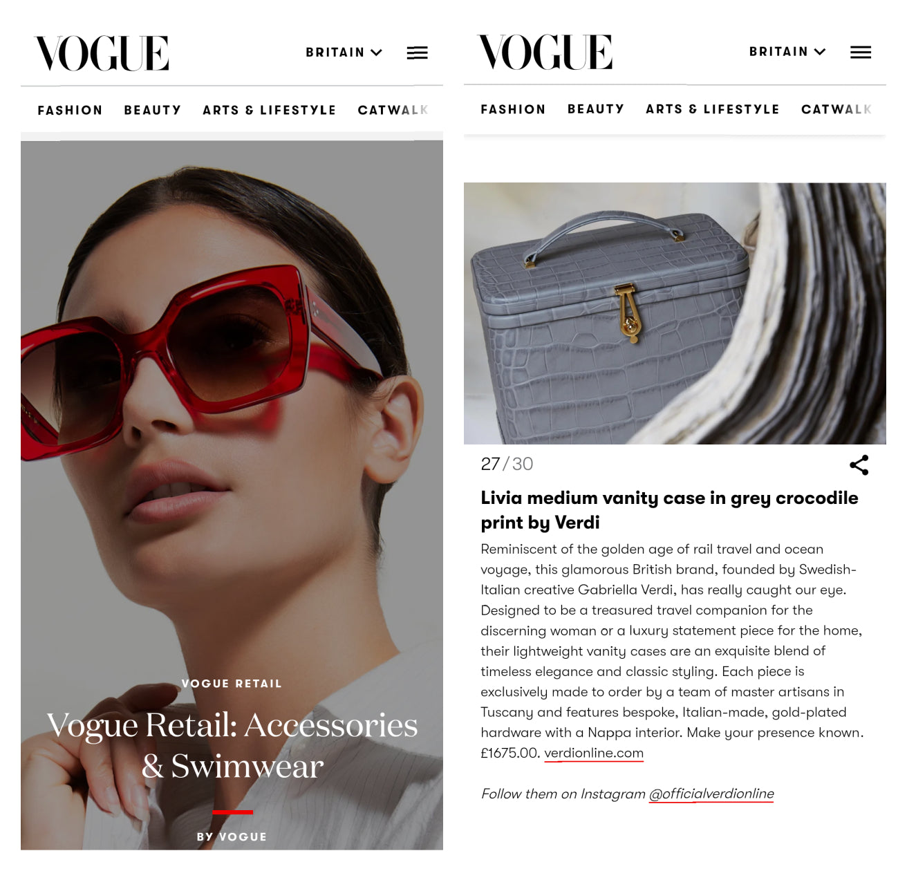 Atelier Verdi Grey Crocodile Vanity Case in Vogue Digital Retail September 2020