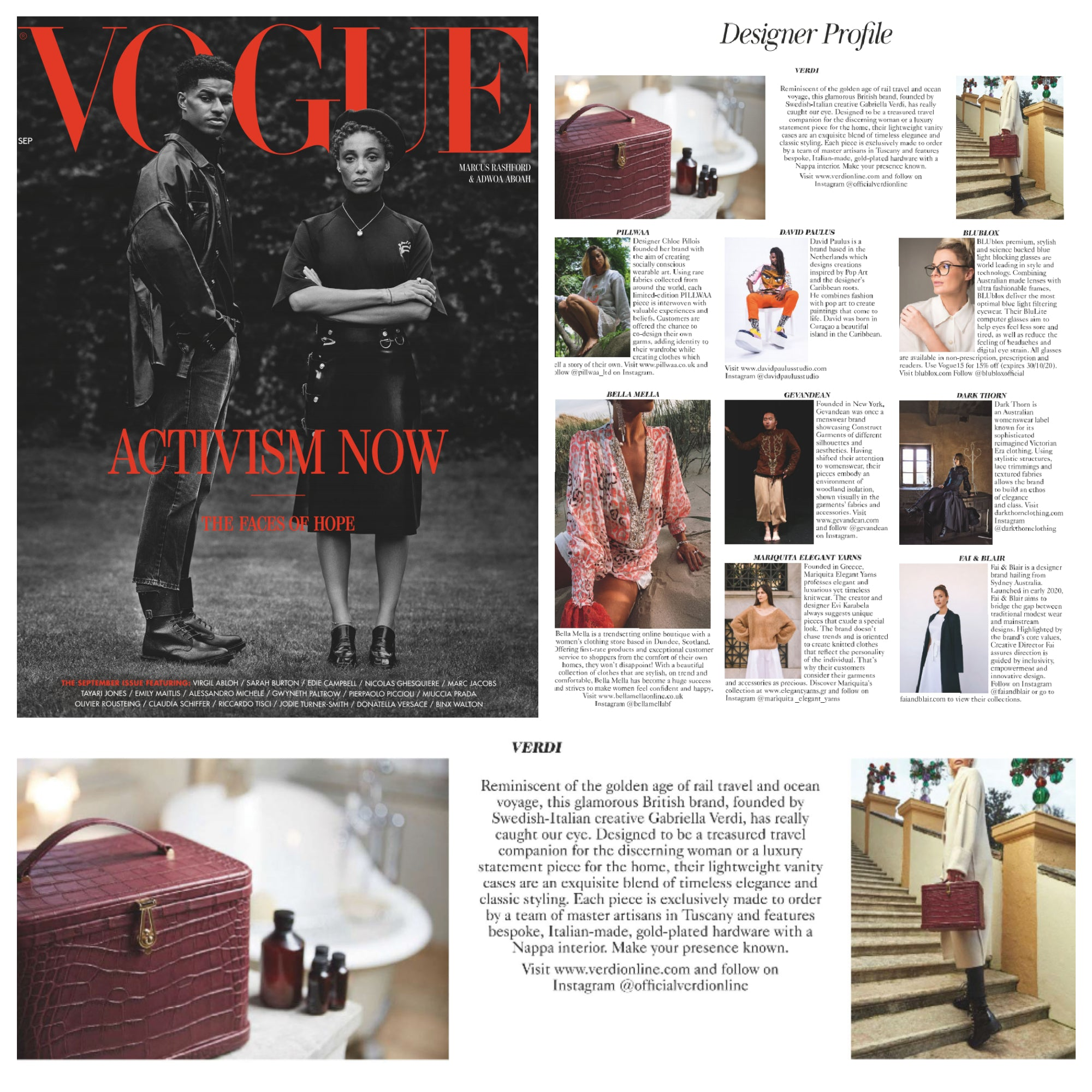 Atelier Verdi in British Vogue September 2020 Designer Profile