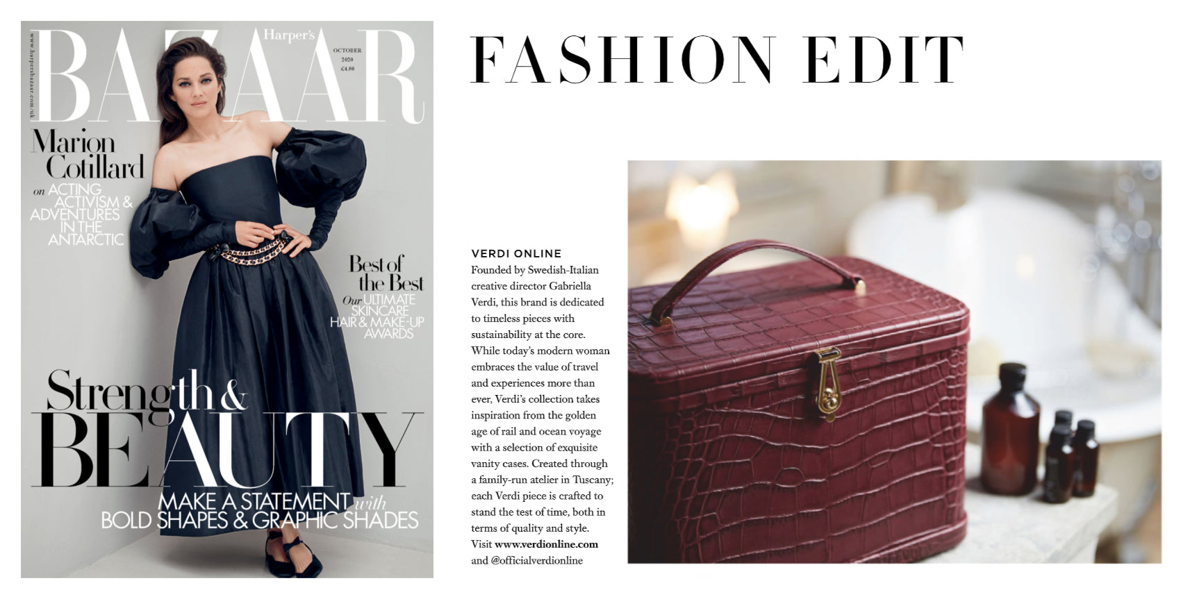 Atelier Verdi Wine Crocodile Vanity Case in Harper's Bazaar October 2020