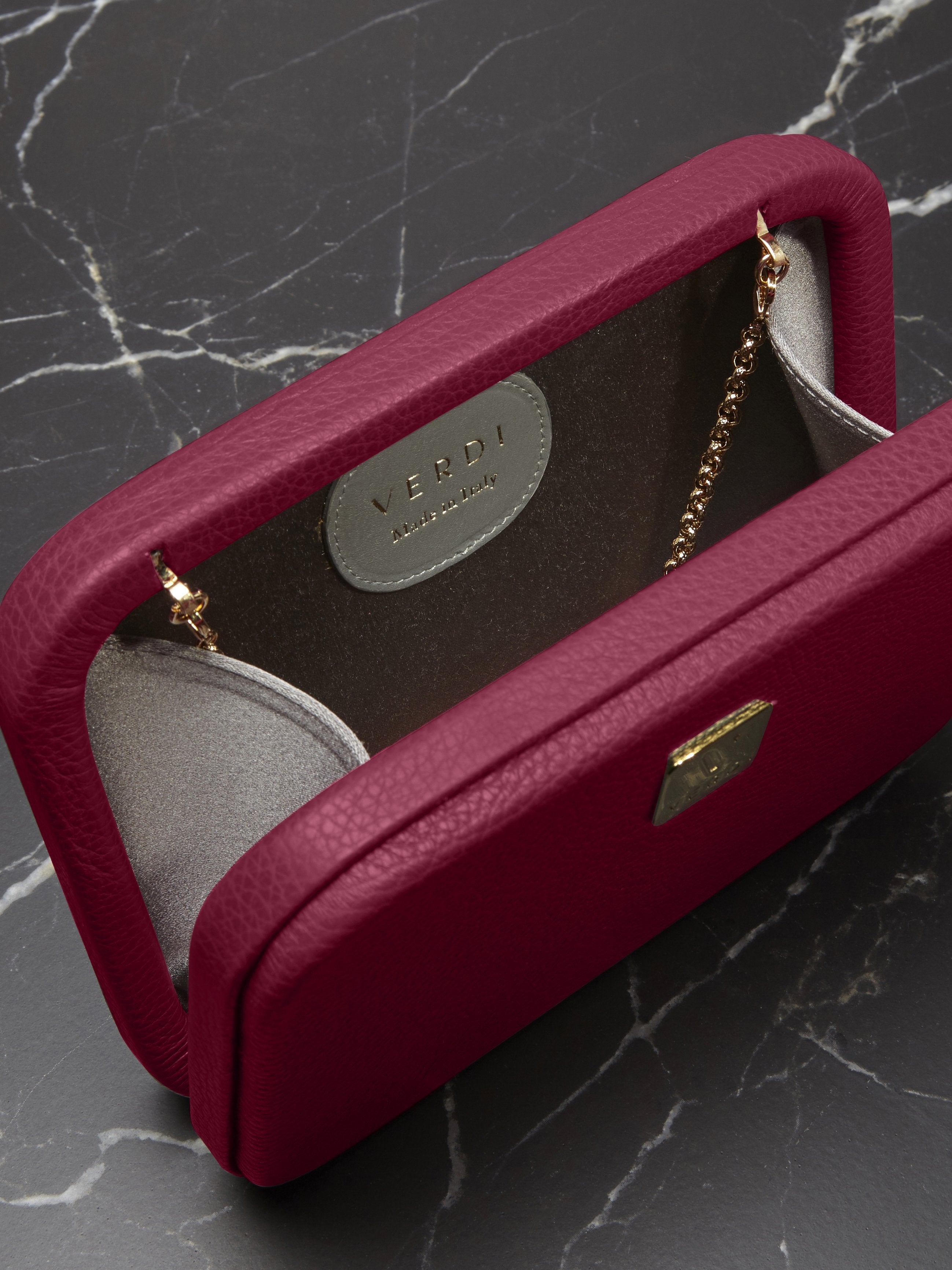 Atelier Verdi pink leather clutch bag, interior