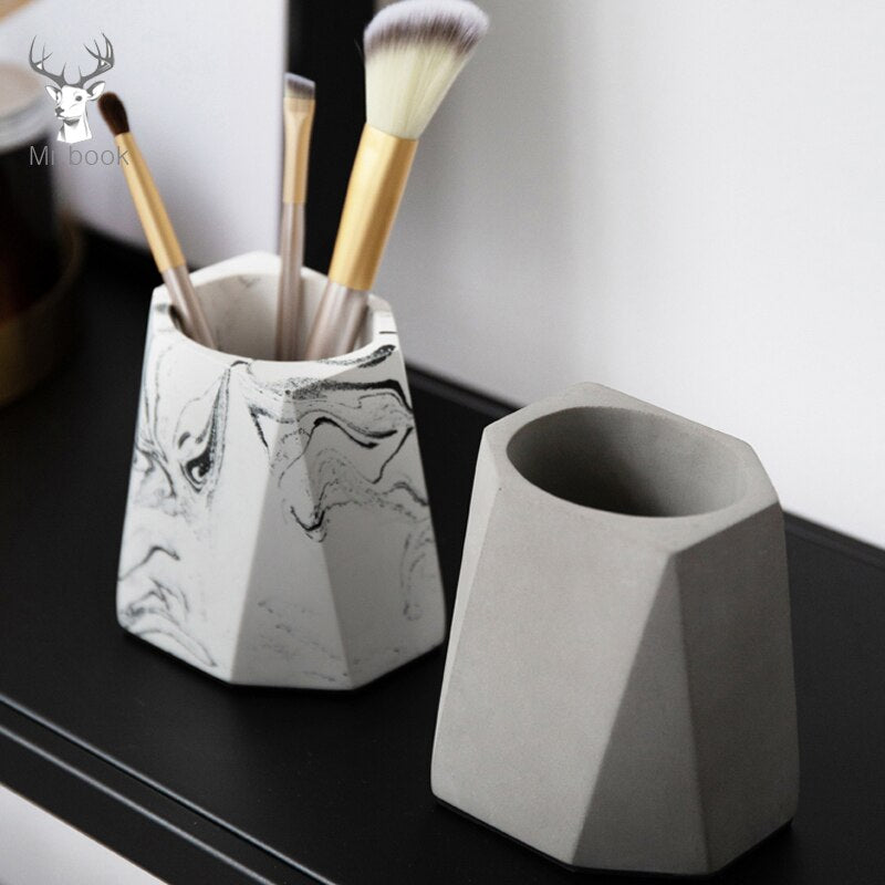 Creative Cement Pen Holder FOR DESK Eyebrow Makeup Brushes Tools Cup Holder Case Office Desk Pen Holder Decoration Desk Accessories
