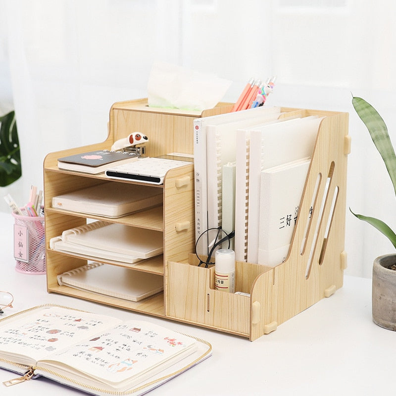 multifunctional Desktop office Organizer Storage Box Pen Pencil Box Jewelry Makeup Holder Stationery Brown Office storage rack