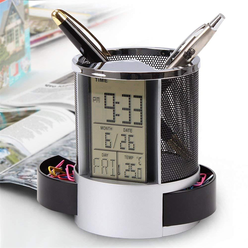 Mesh Pen Pencil Holder With Digital LCD Office Desk Alarm Clock Time Temperature Calendar Function-PC Friend Desk Organizer A20