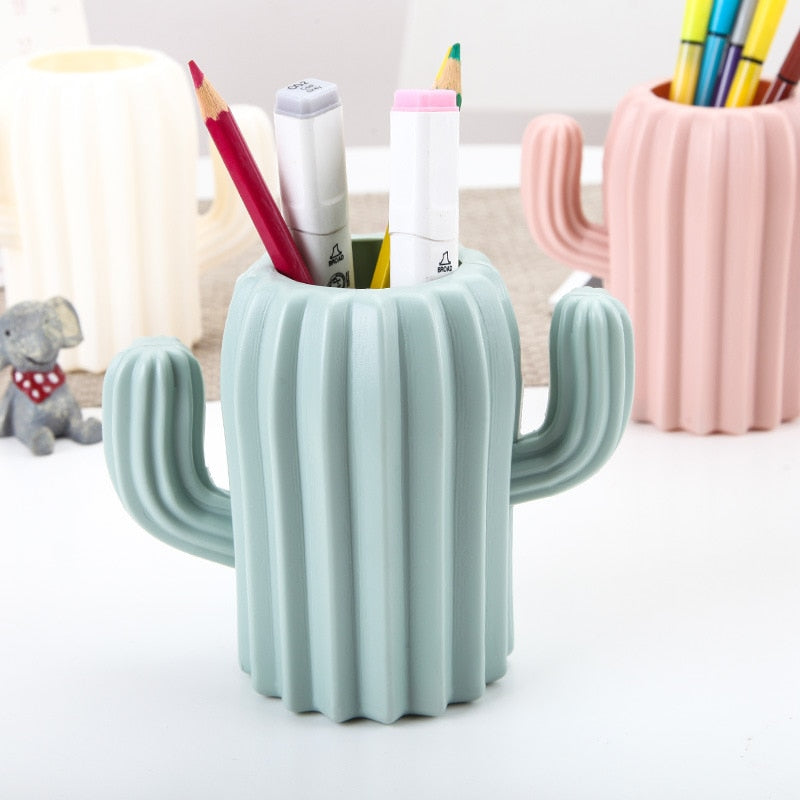 Pen holder for desk creative student stationery Desktop cactus desk multifunction storage box PE Pen container brush pot office supplies