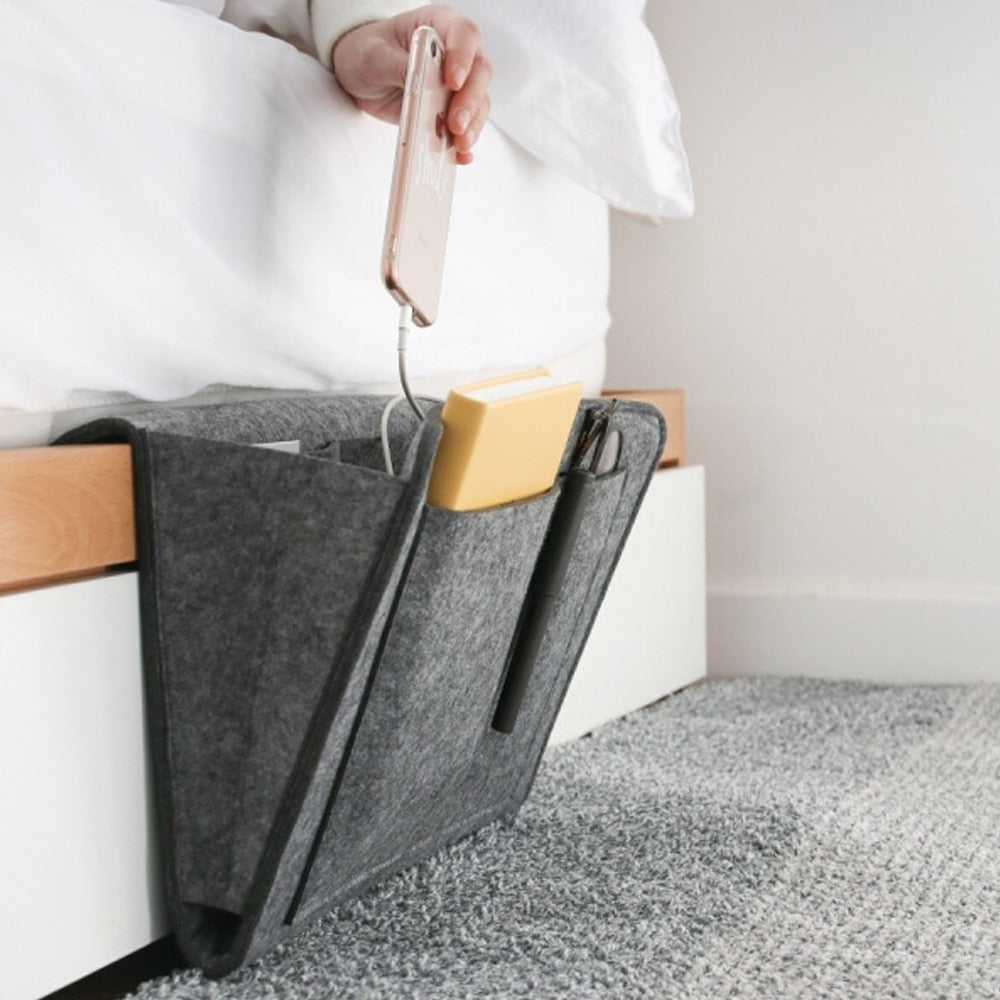 Storage Pockets Bags Felt Bedside Hanging Storage Organizer Holder with 2 Inner Pockets for Bed Table Sofa Storage Bags