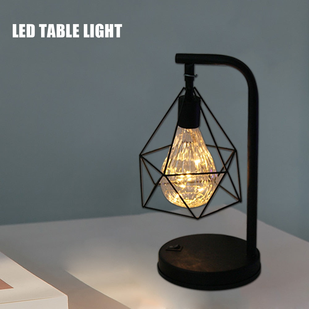 Wrought Iron LED Night Light Creative LED Table Lamp  Home Decor Light Black Geometric Wire Industrial Lamp Bedroom Decoration