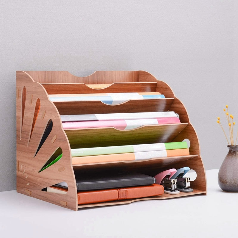 File Document Organizer Wood Fan-Shaped Book Paper Sorter 5 Compartment for Office Desktop Magazine DIY Holder