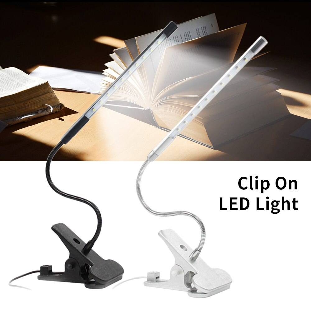 Clip-On 10 LED Lamp Table Desk Light Adjustable USB Book Reading Light Lamp Night Light  Mini Led Light  Eye Protection Light