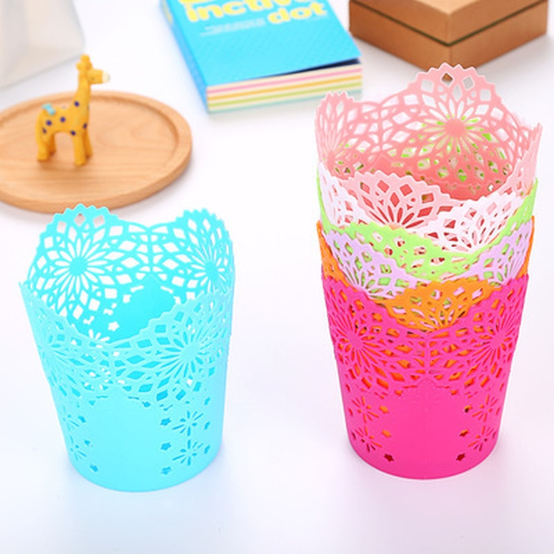 Hollow Flower Brush Storage Pen Pencil Pot Holder Container Plastic Desk Organizer Multifunctional Storage