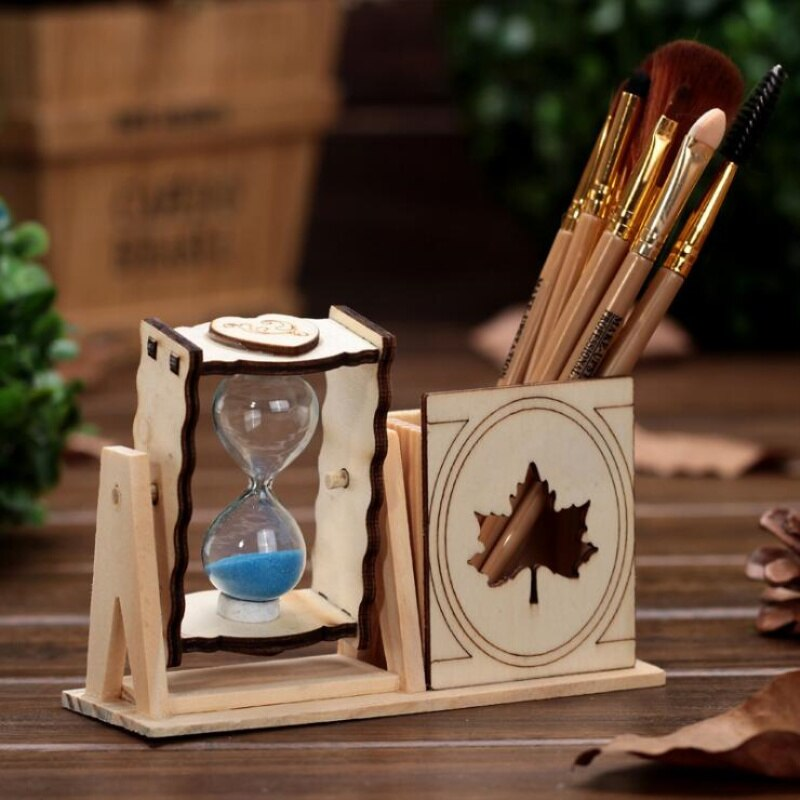 New Design 3D Diy Hourglass Ornament Sand Clock Decoration Kids Jewelry Toy Office Supplies Wood Brush Pot Panda Eiffel Tower