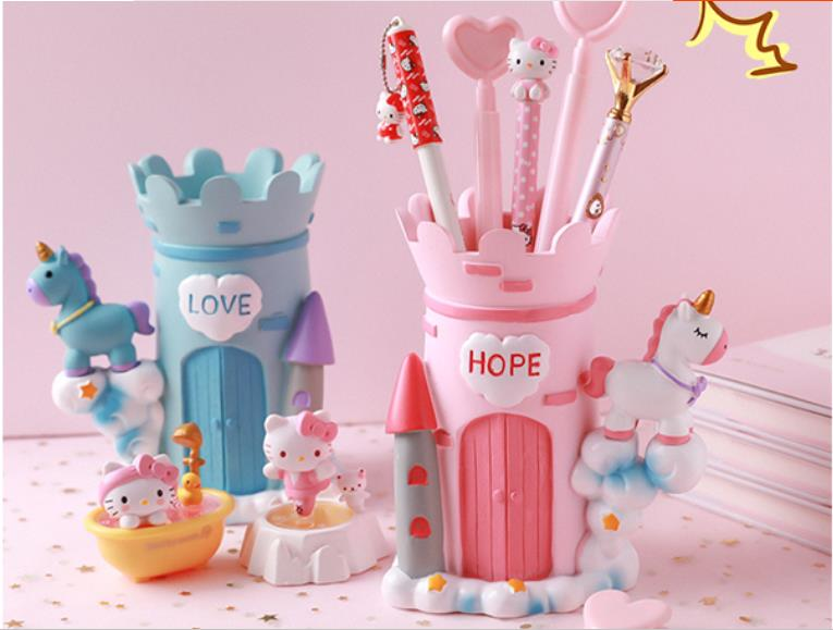 Cute unicorn pen holder student fashion creative personality storage box stationery pen barrel decoration