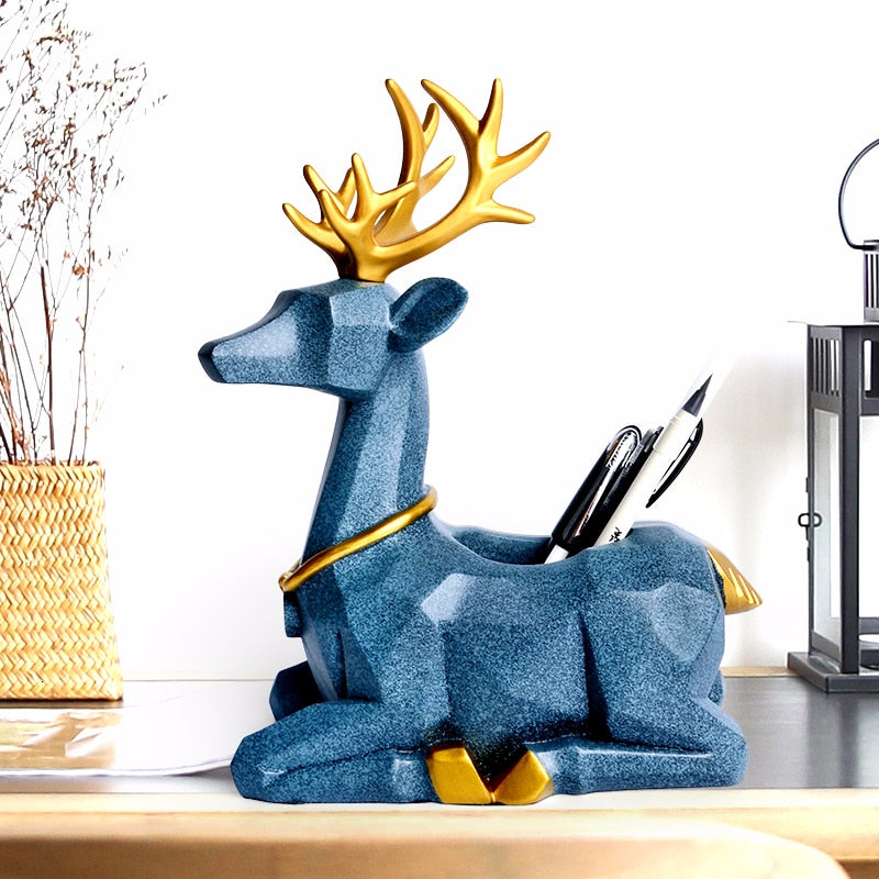 Kawaii Cartoon Deer Pen Holder FOR DESK Resin Creative Office Desk Accessories Organizer Stationery Cute Decoration Holder Pencils Gift