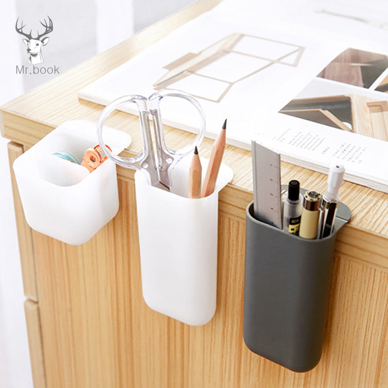 Creative Pasteable Pen Holder Desktop Storage Boxes Desk Pen Pencil Organizer Office Sundries Storage School Stationery Holders