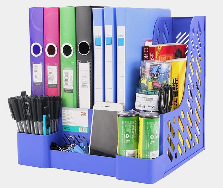 Updated 4 Layer PP Classic Plastic File Tray Paper Holders Office Desk Documents Organizer Paper Box Blue Black Unassembled