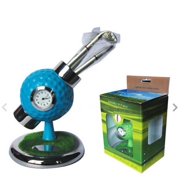 personalized golf ball design desktop golf pen and pen holder golf watch gift with mini club pen