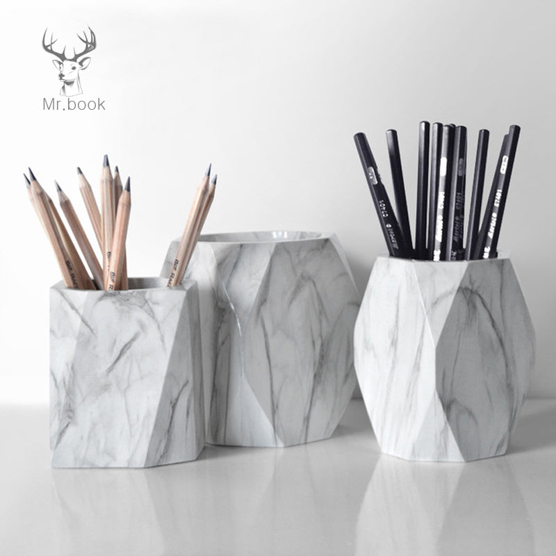 Nordic Style Marble Print Pen Holder FOR DESK Pencil Case Makeup Brush Storage Box Creative Home Office Desk Ornaments Stationery Gifts