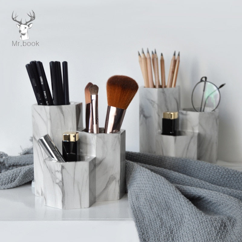 Creative Marble Pen Holder Home Office Desk Decor Business Gifts Makeup Brush Storage Holder Office Pen Holder Desk Organizer