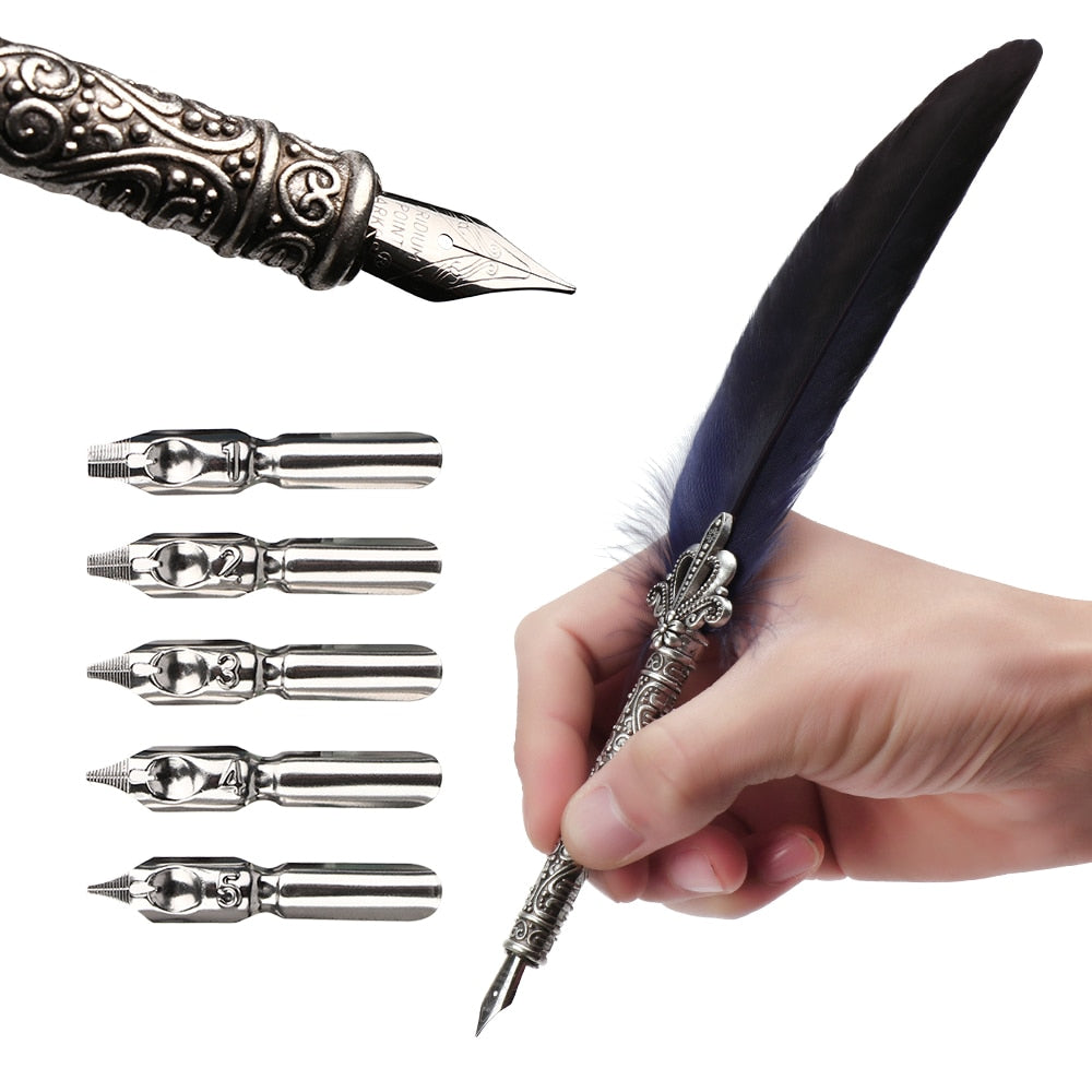 1 Set Vintage Quill Dip Pen Turkey Feather Pen Quill Oblique + 5 Nibs+ Pen Se hot Gift