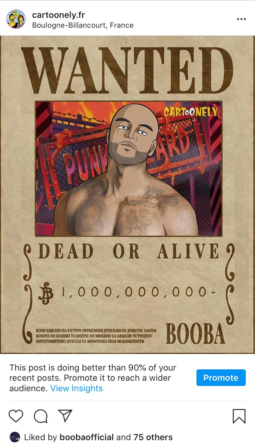 Affiche One Piece wanted Booba
