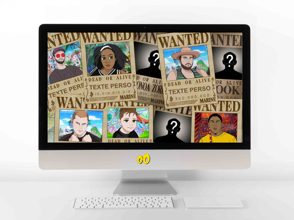 Affiche one piece - Affiche wanted one piece personnalisée - Portrait One Piece Digital