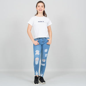 Jegging tiro medio con rotos