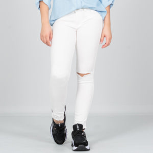 Jegging tiro medio blanco